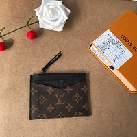 LV Louis Vuitton MONOGRAM CANVAS PORTE-CARTE ZIPPER WALLET