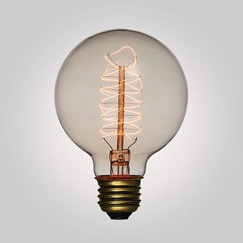 25-Watt Incandescent G95 Globe Vintage Edison Light Bulb, Spiral Filament, E26 Medium Base