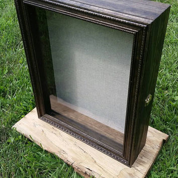"""PERSONALIZABLE LARGE SIZE Wooden Shadow Box Display Case With Hinged Lid & Choice of Glass or Wood Bottom (17""""x21""""x4"""")"""