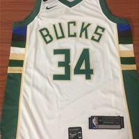 Milwaukee Bucks #34 Giannis Antetokounmpo White Swingman Jersey S--XXL