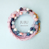 Women pink wrap bracelet with braided leather Swarovski crystal pearls and natural agate stone beads
