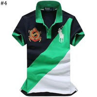 POLO 2018 summer new lapels color matching men's short-sleeved T-shirt #4