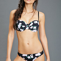 FOREVER 21 Rose Print Mesh-Paneled Thong Black/White