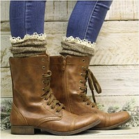 BOOTIE  lace slouch  socks - brown