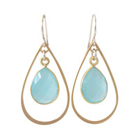 Chalcedony Gold Dangle Earrings
