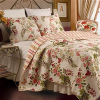 Twin size 100-percent Cotton Quilt Set with Sham in Pink Floral Butterfly