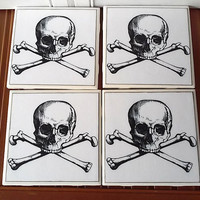 Tile Coaster Skull and Crossbones Halloween Steampunk Gothic Parties Decor Drinking Party Bar Gift Ideas