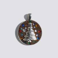 Brown Crystal Clay and Microbeads with Metal Christmas Tree and a Variety of Sizes and Colors of Swarovski Crystals, Pendant, Necklace