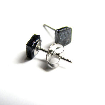 Mens Black Stud Earring, Small Square Post Unisex Jewelry, Minimalist Button Earrings