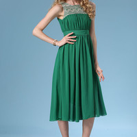 Green Ruched Sleeveless High Waist Chiffon Midi Dress with Embroidered Details