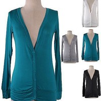 Women Solid Rayon V Neck Button Front Long Sleeve Draped Light Cardigan Sweater