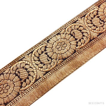 Black and Gold Tree Pattern Brocade Silk Border