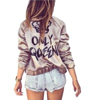 Fashion Women Basic Coats Satin Silk Champagne Gold Bomber Jacket Back ONLY QUEEN Crown Letter Print outerwear coats
