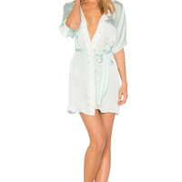 Flora Nikrooz Mira Texture Satin Lace Cover Up in Bridal Blue