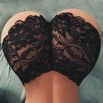 Ladies Sexy Lingerie Floral Lace See Through Panties