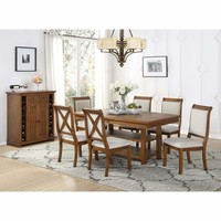 Birch Wood Dining Table With 2 Open Shelves Brown