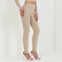 Suede Lace-Up Legging - Beige