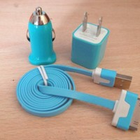 3pcs/Lot!1m 1PCS USB Cord 1PCS USB Power Adapter Wall Charger And 1Pcs Car Charger For Iphone 4/4s/5