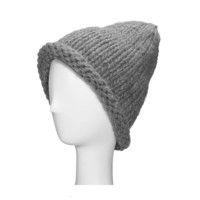 Grey Beanie Hat with Roll Brim Detail