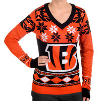 Cincinnati Bengals Forever Collectibles Women's V Neck Big Logo Ugly Sweater Sizes S-XL w/ Priority Shipping