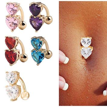 Two Hearts Button Navel Ring Reverse Crystal Zircon Bar Belly Ring Gold Body Piercing Women Sexy Navel Barbell SM6