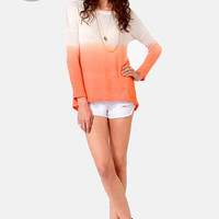 LULUS Exclusive This Kiss Ivory and Peach Ombre Sweater