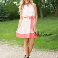 PLEATED TO MEET YOU IN CORAL & PEACH
