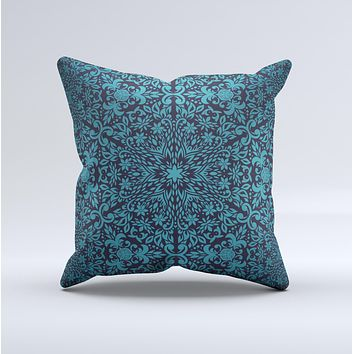 Teal Floral Mirrored Pattern ink-Fuzed Decorative Throw Pillow