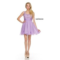 Short Homecoming Dress Illusion Appliqued Bodice V-Shape Back Lilac