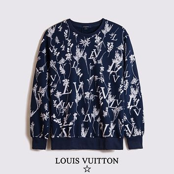 Louis Vuitton LV new jacket, messy letters, small tree jacquard pattern, fashionable men's and women's sweaters