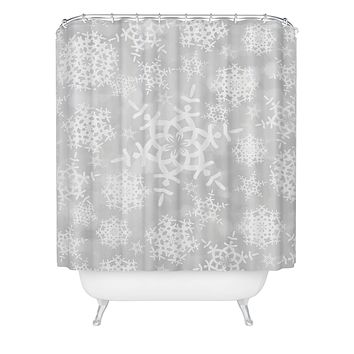 Lisa Argyropoulos Snow Flurries in Gray Shower Curtain