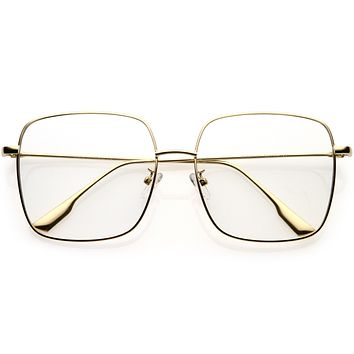 Retro Modern Blue Light Filtering Thin Metal Arms Square Glasses D090