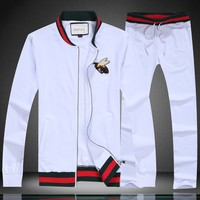 GUCCI autumn striped long-sleeved lapel zipper embroidery bee men's sports two-piece white