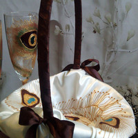 Hand painted champagne color flower girl basket peacock feathers in gold, brown and turquoise Wedding favor