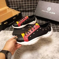 Philipp Plein Black/Red Men Fashion Casual Sneakers Sport Shoes