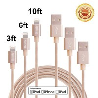 Bestfy(TM)3Pack 3FT 6FT 10FT Extra Long Tangle Free Nylon Braided 8Pin to USB Power Cable Cord with Aluminum Heads for iPhone 6/6s/6 Plus/5/5c/5s, iPad 4 Mini Air iPod Nano 7 iPod Touch 5 (Golden)