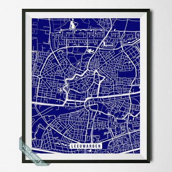 Leeuwarden Print, Netherlands Poster, Leeuwarden Street Map, Netherlands Map Print, Friesland, Home Wall Art, Office Decor, Back To School