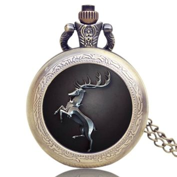 Hot Fashion US TV Series Game of Thrones Theme Pocket Watch Gift Men Women Quartz Pendant Watches for Fans