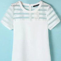 White Organza Panel T-Shirt