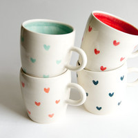 Coffee Mug Set of 4- Heart Pattern in Teal Coral Red and Mint Handmade Ceramics by RossLab