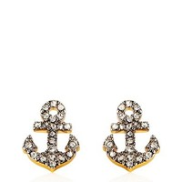 Pave Anchor Stud Earrings