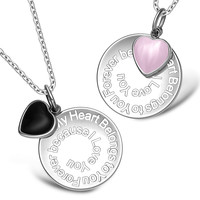 My Heart Belongs to You Forever Inspirational Heart Couples Set Simulated Onyx Pink Cats Eye Necklaces