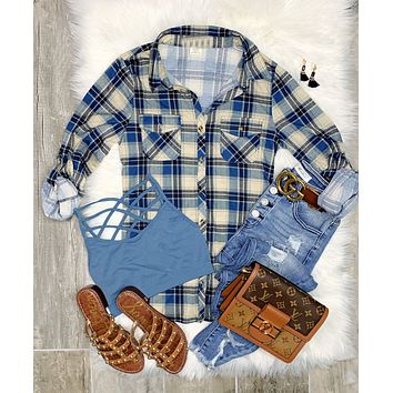 Penny Plaid Flannel Top - Navy/Sand