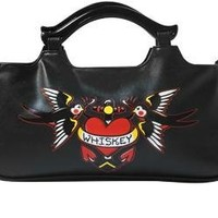 Black Galaxie Purse with Whiskey Across Red Heart from Sourpuss Clothing