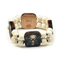 Angry Scull Wood Charm Bracelet