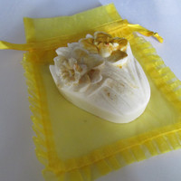 Daffodil Soap. Handmade cocoa butter and oatmeal natural formula handpainted for friends of all ages, two included, each with gift bag.