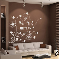 Vinyl Wall Decal Sticker Birds with Flowers #1001