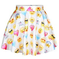 Pink Queen® Ladies Smiley Funny Emoji Printed Pleated Skirt One Size White