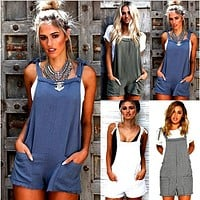 Women Ladies Casual Shorts Overalls Sleeveless Backless Clubwear Summer Women Loose Strap Shorts Clothes