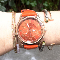 Orange Vegan Leather Watch